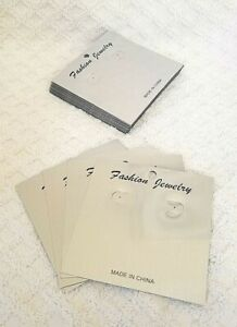 100 Pc 4 x4 Large Square Silver Plastic Earring Ear Studs Holder Display Cards