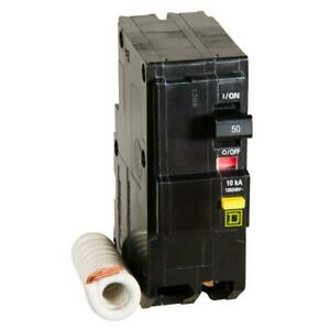 Square D Circuit Breaker 2 Poles Gfci Homeline 50 Amp Ground Fault Protection