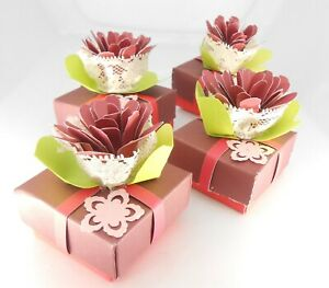Hand Made Red Burgundy Red Cactus Flower Cardstock Gift Box With Black Velvet