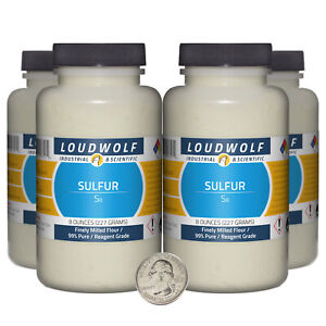 Sulfur 2 Pounds 4 Bottles 99 Pure Reagent Grade Finely Milled Flour