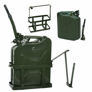 Jerry Can With Holder 20l Liter 5 Gallons Metal Steel Tank Holder Gas Green