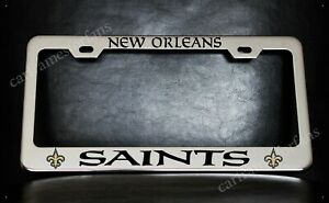 New Orleans Saints License Plate Frame Custom Made Of Chrome Plated Metal