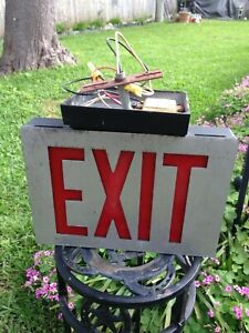 Vintage Metal Exit Sign commercial Industrial lithonia