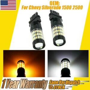 White Amber Switchback Led Turn Signal Light Bulbs For Chevy Silverado 1500