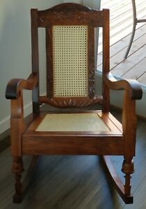 Antique Vtg Solid Wood Craved Grape Vine Cane Seat Rocking Chair Beautiful