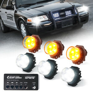 Xprite 6x White Yellow Led Hideaway Strobe Lights Set For Trucks Light Heads