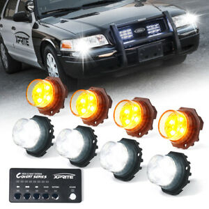 Xprite 8pcs Hideaway Led Strobe Lights Headlight For 12v Trucks White Yellow