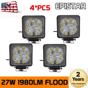4x27w Led Work Light Flood Beam Truck Offroad Pods Driving Tractor 12v24v Square