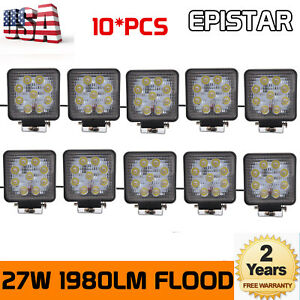 10x27w Led Work Light Flood Truck Offroad Pods Driving Tractor 12v24v Square Car