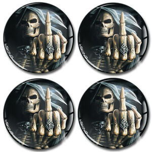 50mm 3d Silicone Stickers Decals Wheel Center Hub Rims Caps Middle Finger Skull