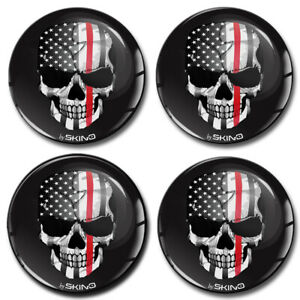 70mm 3d Silicone Stickers Decals Wheel Center Hub Rims Caps Punisher Skull Usa