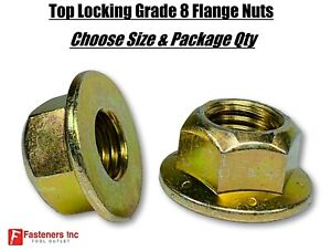 Grade 8 Top Locking Hex Flange Frame Nuts Zinc Yellow choose Size Qty