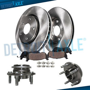 Front Brake Rotors Pads Wheel Hub For 1999 2000 2001 2004 Ford Mustang Base Gt