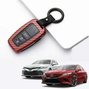 Carbon Fiber Red Smart Key Case Cover Holder For 2018 2019 2020 Toyota Camry