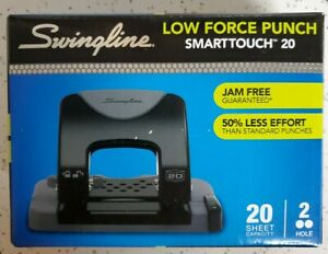 Swingline 2 Hole Punch Low Force Smarttouch Jam Free 20 Sheet Capacity Sealed
