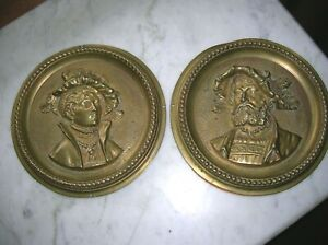 Antique Victorian Brass Bronze Wall Plaques Man Lady Vgc 64 99 Or Bo