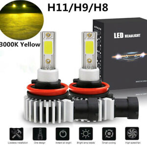 2x H11 H8 H9 Led Headlight Bulbs High Low Beam 3000k Golden Yellow Fog Lights Us