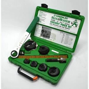 Briefly Used Greenlee slug Buster Knock Out Punch Set 7238sb W Wrench Driver