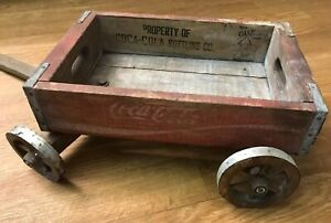 "VINTAGE COCA COLA WOOD CRATE WAGON  cart with TURNING handle  18"" X 12""  Coke"