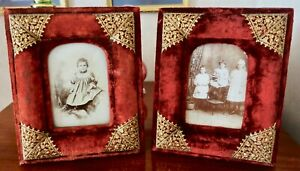 Pair Of Victorian Photo Frames Red Velvet With Pinchbeck Filigree Corners