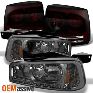Fit 2006 2007 2008 Dodge Charger Led Smoked 1pc Headlights dark Red Tail Lights