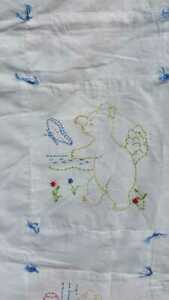Vintage White Baby Cot Quilt Hand Sewn Bear Activities 34 X 45