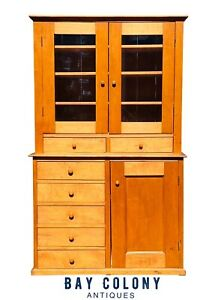 19th C Country Primitive Antique Shaker Maple Cabinet Step Back Cupboard Hutch