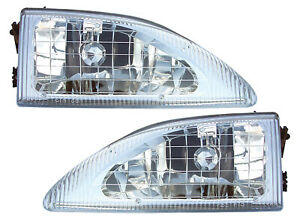 For 1994 1995 1996 1997 1998 Ford Mustang Headlights Pair Set