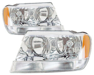For 1999 2000 2001 Jeep Grand Cherokee Headlights Pair Set