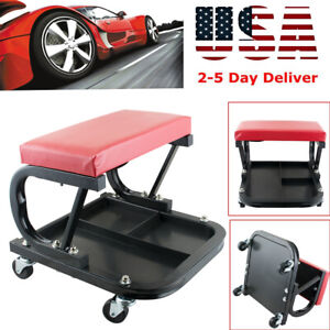 Auto Shop Work Roller Seat Mechanics Repair Tool Storage Tray Chair For 220lbs