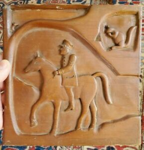 Antique 19th C Folk Art Carved Panel With Soldier On Horse And Squirrels