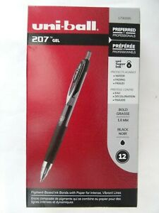 Uni ball 1790895 Signo 207 Retractable Gel Pen Bold Point Black Ink 12 count