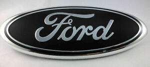 Black Chrome 2005 2014 Ford F150 Front Grille Tailgate 9 Inch Oval Emblem 1pc