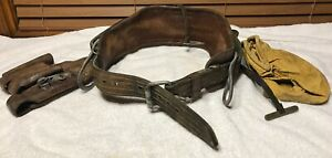 Leather Climbing Linesman Belt With Tool Holster Maybe Buckingham Or Klein