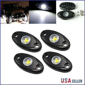 4x White Cree Led Rock Light For Jeep Off Road Truck Under Body Trail Rig Light