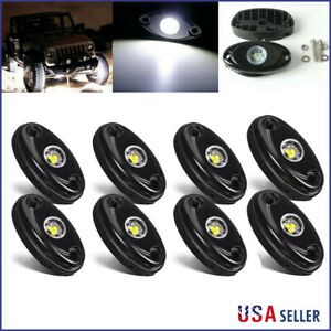 8x 9w White Cree Led Rock Light For Jeep Offroad Truck Under Body Trail Rig Lamp