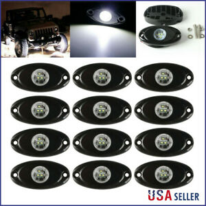 12x White Cree Led Rock Light For Atv Off road Truck Under Body Trail Rig Light