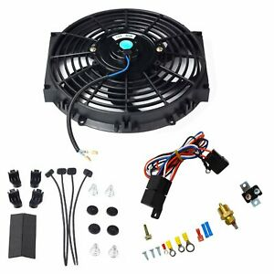 10 Bk Electric Radiator Cooling Fan W Thermostat Relay Mounting Kit Black