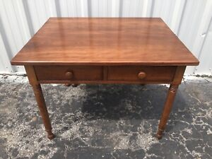 Unusual Sheraton Cherry Single Drop Leaf Table W 2 Draws 29 1 4 X 39 X 31