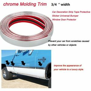 3 4 Car Chrome Molding Trim Strip Anti Collision Friction Decorate 25 Ft