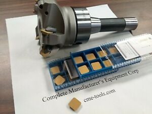 3 45 Degree Indexable Face Shell Mill W 20 Extra Sean42 Inserts W R8 Arbor
