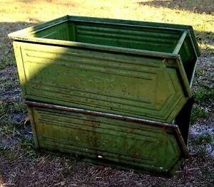 2 Vintage Metal Parts Bin Stacking Storage Stack Nesting Box Industrial Decor