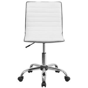 Swivel Low Back Armless Ribbed Designer Office desk task Chair With Wheels White
