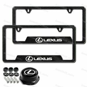 For 2pcs Lexus Carbon Fiber Look License Plate Frame Abs New With All Screws Set