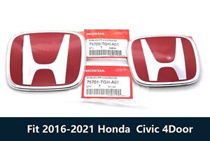 2pc Red H Front Rear Emblem Badge Fit 2016 2021 Honda Civic Sedan 4dr Jdm