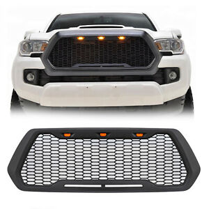 Front Grille Mesh Grill For Toyota Tacoma 2016 2019 Trd Pro Insert W 3 Lights