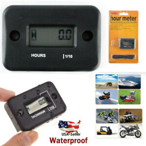 Small Waterproof Digital Hour Meter For Lawn Mower Generator Motorcycle Atv Us
