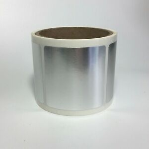 Bright Silver Metallic Foil Labels 2 5 X 2 5 Square Roll Of 100 Labels
