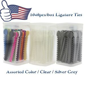 1040pcs Dental Orthodontic Elastic Rubber Ligature Ties Clear Grey Mixed Color