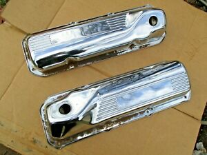 Ford 351c 351m 400m Vintage Chrome Steel Ribbed Valve Covers Rat Rod Patina